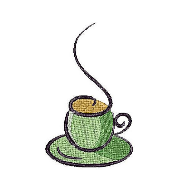 Cup of coffee, a cup of  tea, coaster, machine embroidery design