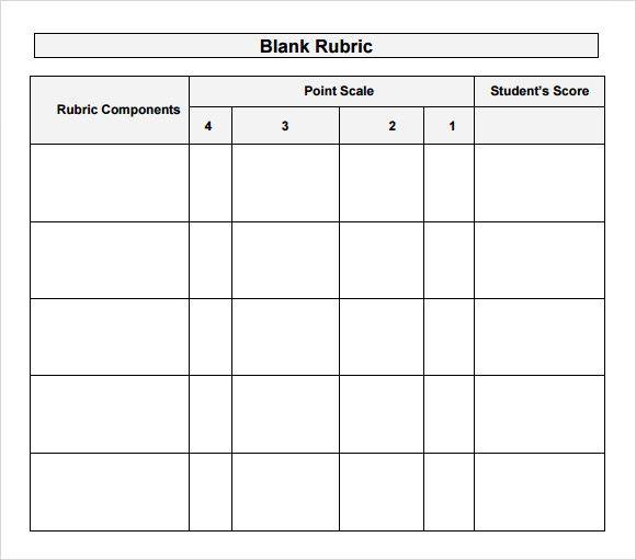 Blank Rubric Template Rubric Template Rubrics Writing Rubric