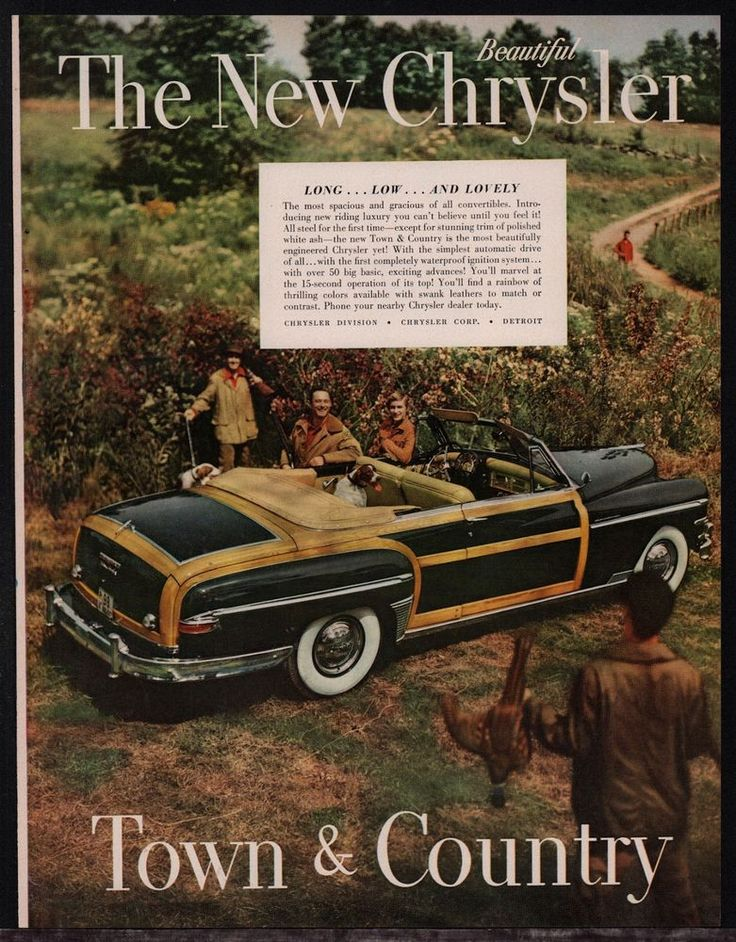 1949 CHRYSLER Town & Country Woody Convertible AD Bird Hunters w/ Pointer…