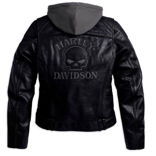 Harley Davidson Women Reflective Willie G Skull Leather Jacket