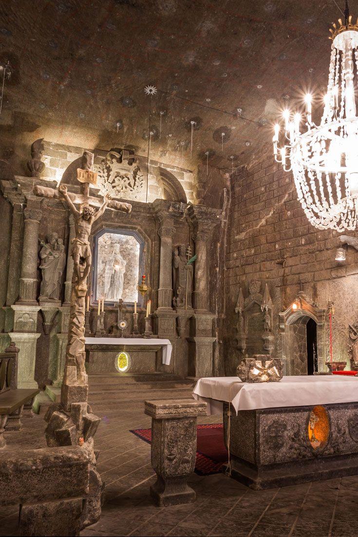 Wieliczka Salt Mine in Krakow - everything is carved from salt