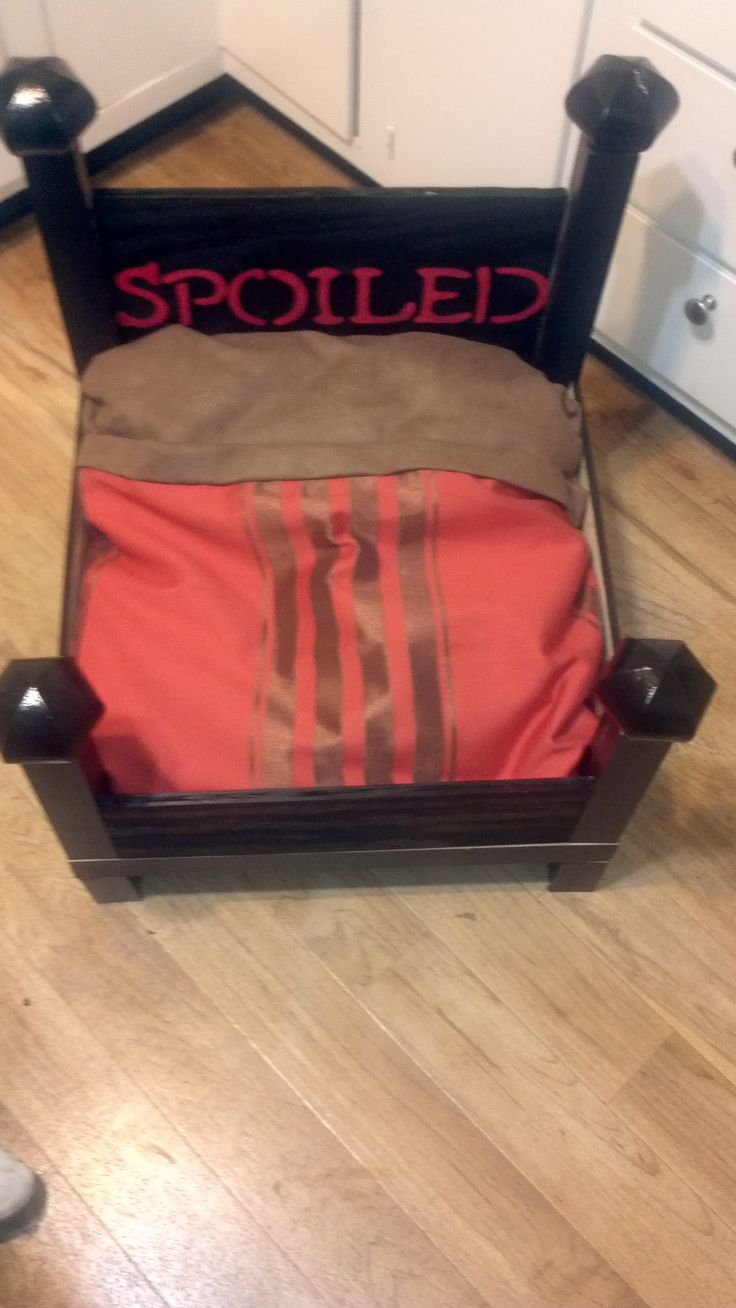 Dog bed out of an end table