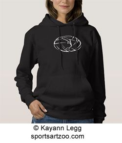 Stylized Female Volleyball Player with Ball Dark Womens Pullover Hoddie by SportsArtZoo #volleyball #female #hoodie