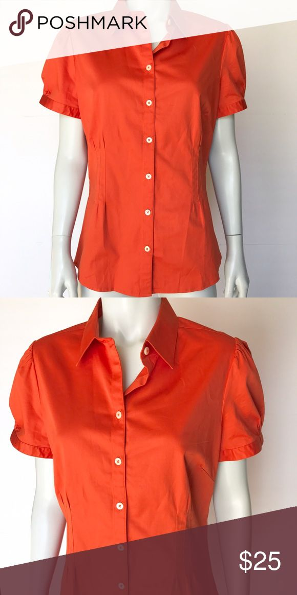• Banana Republic • short sleeve dress shirt Gorgeous orange button down shirt. Brand new with tags! Bright top is perfect for layering for professional work outfits. Banana Republic Tops Button Down Shirts