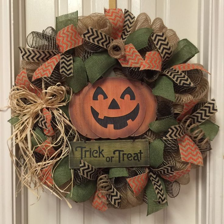 Halloween Burlap Wreath, Fall Welcome Wreath, Pumpkin Wreath