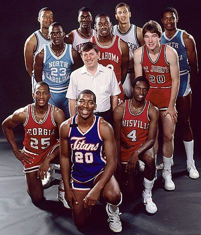 1984 Playboy All-America Team Front row: James Banks, forward, Georgia; Leon Wood, guard, Fullerton St.; Lancaster Gordon, guard, Louisville. Second Row: Michael Jordan, guard, NC; Lou Carnesecca, Coach of the Year, St. John's; Wayman Tisdale, forward, Oklahoma; Chris Mullin, guard, St. John's. Third Row: Melvin Turpin, forward, Kentucky; Akeem Olajuwon, center, Houston; Sam Bowie, center, Kentucky; Sam Perkins, forward, NC