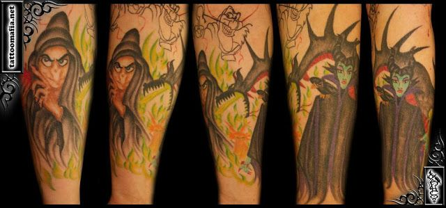 Old Witch and Maleficent. Artist: Lisa DeLauder of Tattoo Mafia .