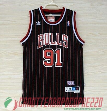 canotte nba poco prezzo Chicago Bulls Rodman 91 nere