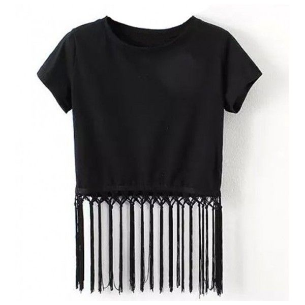 Crop Top With Strip Fringe found on Polyvore