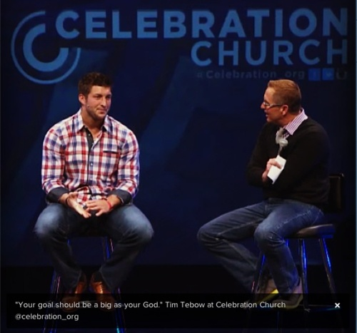 timmytebs:  Tim speaking at Celebration Church. (x)
