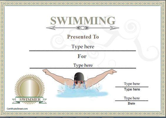 Sports Certificates - Certificate of achievement in Swimming | CertificateStreet.com