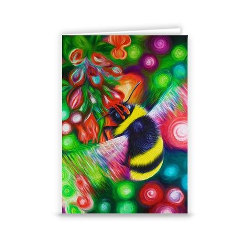 Bumble bee and flowers greeting card by simon knott fine artist at zippi flower canvasbumble