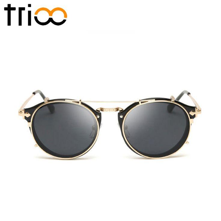 TRIOO Summer Black Sunglasses Men Brand Designer Steampunk Shades Gold Frame Mirror Lens lunette Male Pilot Mirror Sun Glasses
