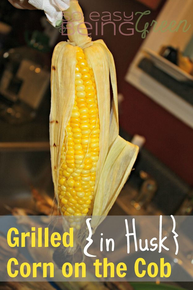 Grill your corn on the cob with the husk on.  Instructions say to cook for 20 minutes.  I would do it for about 30.
