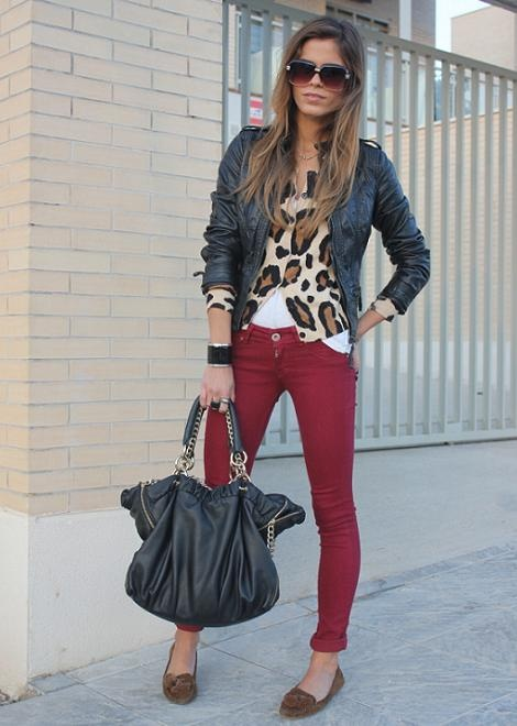 chaqueta de cuero+animal print+mocasines!
