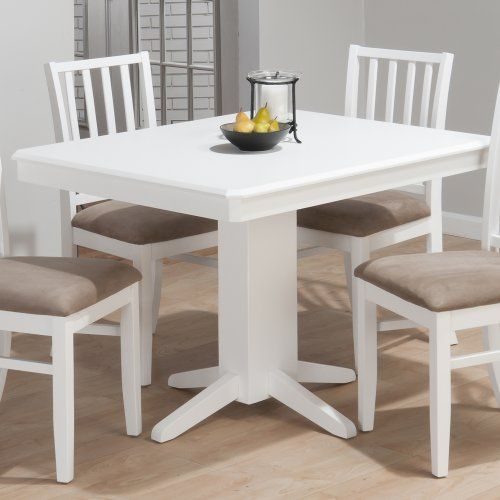 Jofran aspen rectangle pedestal dining table in white jofran - Pedestal dining table rectangular ...