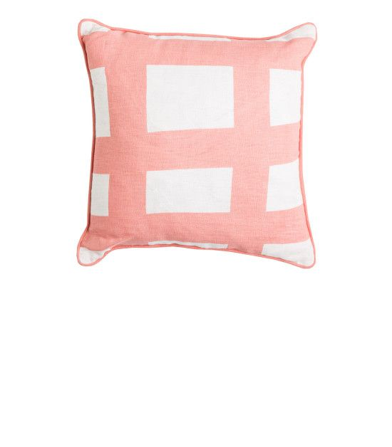 THE SEA TANGLE SQUARE LINEN CUSHION - Peach with Peach Piping. Shop here: http://kateandkate.com.au/shop/collections/the-sea-tangle-square-linen-cushion-peach-with-peach-piping/ //  #exhalebykateandkate #kateandkate #kkcushions #cushion #interior #design #home #bed #bedroom #lounge #inspo #textiles #peach #pink