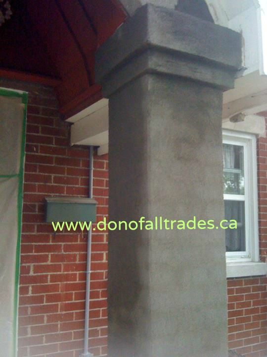 This home owner had upgraded this front porch years before over the existing concrete porch with cedar wood.  Every year the spindles, handrails, base, pillars and steps had to be re-stained as part of their maintenance.  Well we decided to get rid of it and to our surprise we had an opportunity to work with the original steps and base since they were in good enough condition.