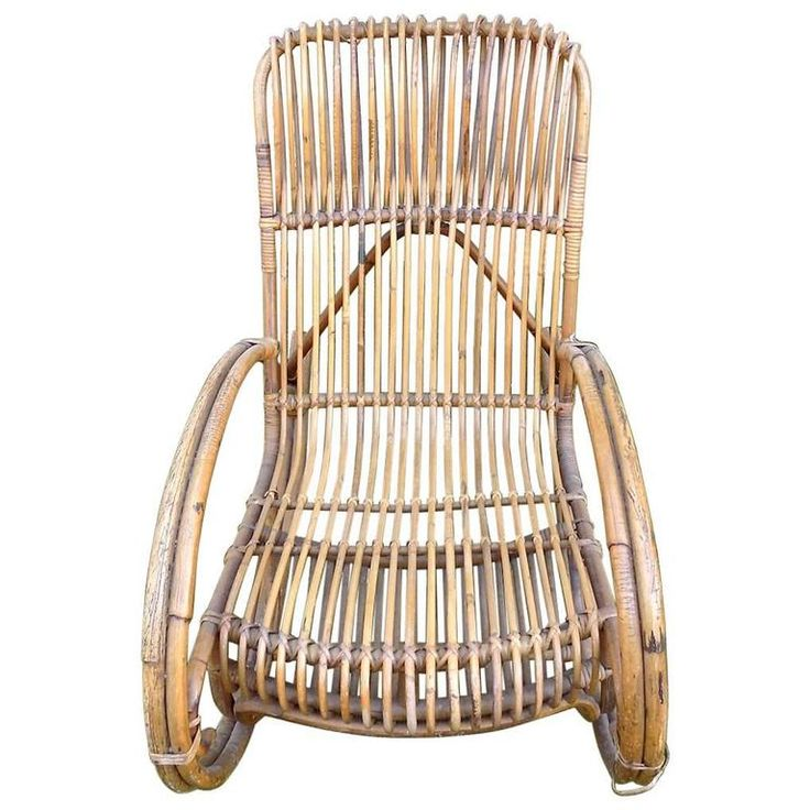Beautiful Wicker Rocking Chair by Audoux Minet, circa 1960 | From a unique collection of antique and modern rocking chairs at https://www.1stdibs.com/furniture/seating/rocking-chairs/