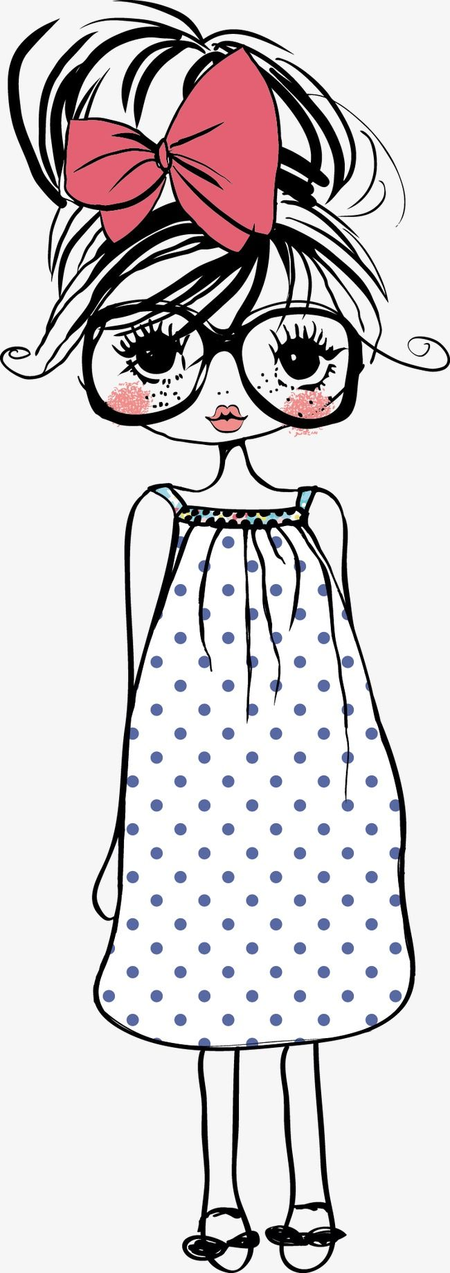 Cute Cartoon Girl, Cartoon Vector, Girl Vector, Lovely PNG and Vector with Transparent Background for Free Download