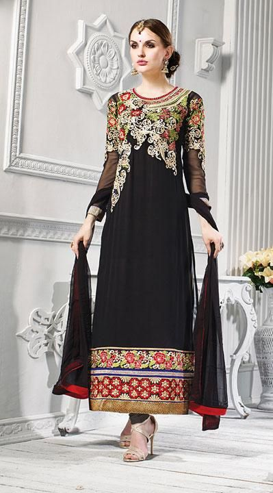 USD 72.82 Black Flower Patch Work Georgette Party Wear Long Suit  40683