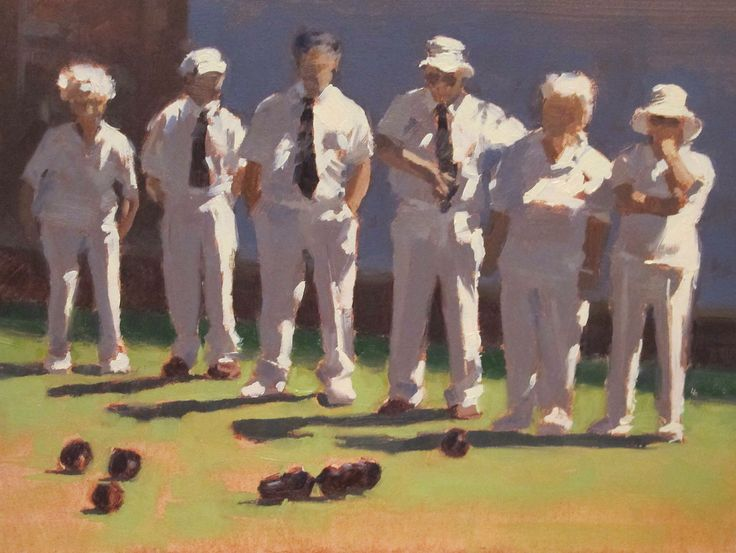 """State of Play - Lawn Bowls - Oil - 6"""" x 8"""""""