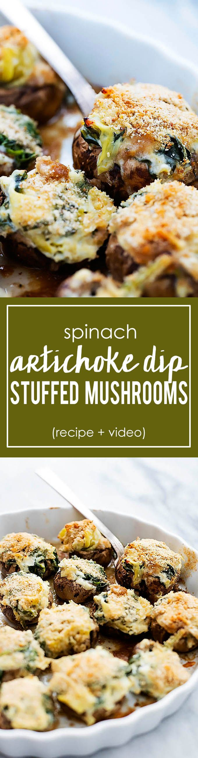 Spinach Artichoke Dip Stuffed Mushrooms | Creme de la Crumb