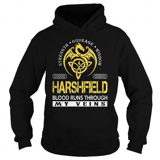Awesome Tee HARSHFIELD Blood Runs Through My Veins (Dragon) - Last Name, Surname T-Shirt T shirts