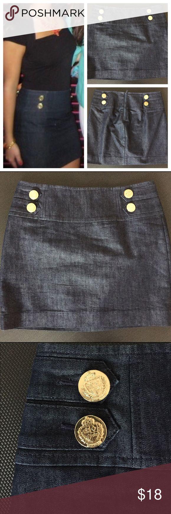 Express dark denim nautical skirt Only worn once! Express Women's Size 0 Denim Miniskirt with Gold Buttons. Zipper on the back.  Great condition. Express Skirts Mini