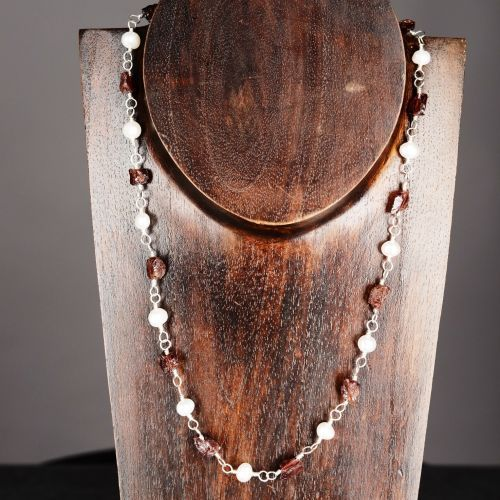 My #handmade Sterling Silver Wire Wrapped #Garnet and Freshwater #Pearl Necklace