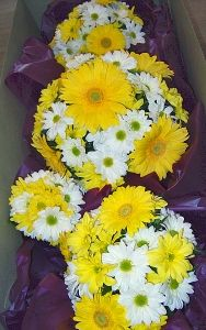 yellow gerber daisy wedding flowers | Yellow Gerbera Daisy and White Daisy Bouquet