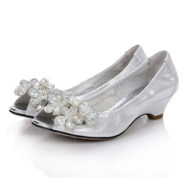 Buy Bridal Low Heel Wedding Shoes Bride Prom Silver Like Rhinstone Platform Open Toes Comfortable From