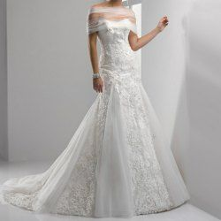 http://rockbottombridal.blogspot.com/ $403 Charming Off the Shoulder Lace Embroidery Women's Court Train Ugly Wedding Dress