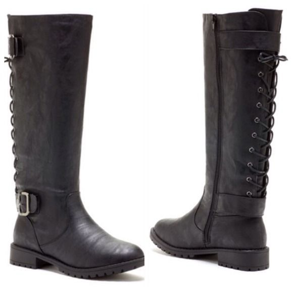 I like the lace up back that makes these basic black boots unique. I also like the lower heals and rubber tread soles. I don't like slippery bottomed shoes.