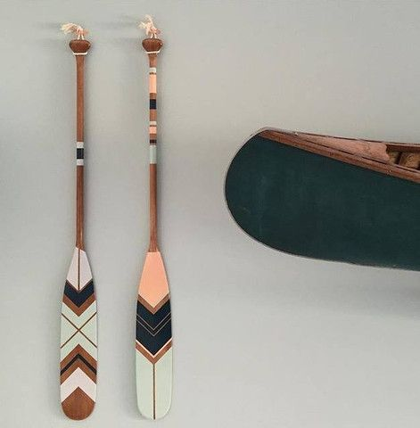 Nordic desert theme. Hand painted canoe paddles by www.ropesandwood.com