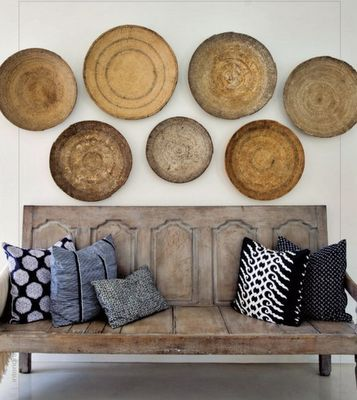 Great way to display Native American woven bowls. Mexican Palma bowls are more colorful and easily accessible for a brighter look. Serape pillows would complete that mix.
