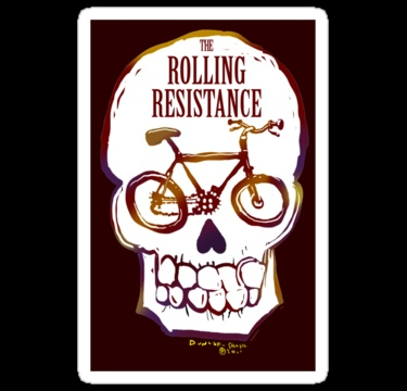 Rolling Resistance (bicycle skull) by dunlapshohl