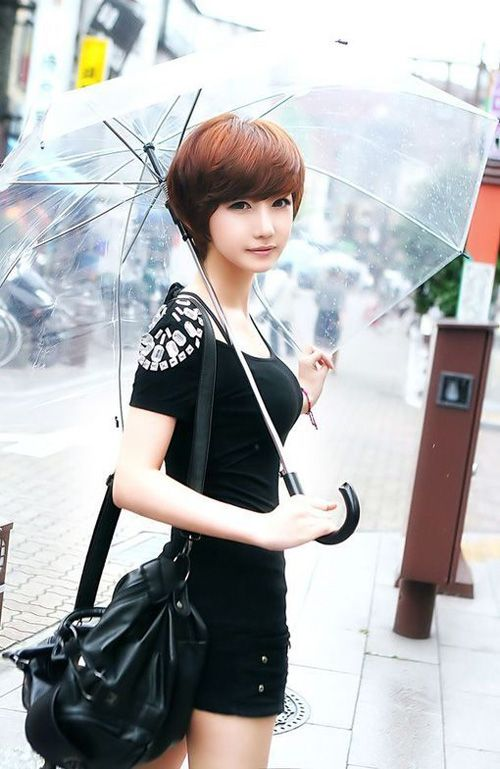 Layered Short Red Bob Haircut with Swept Bangs for Women. Trendy and show face's beauty.