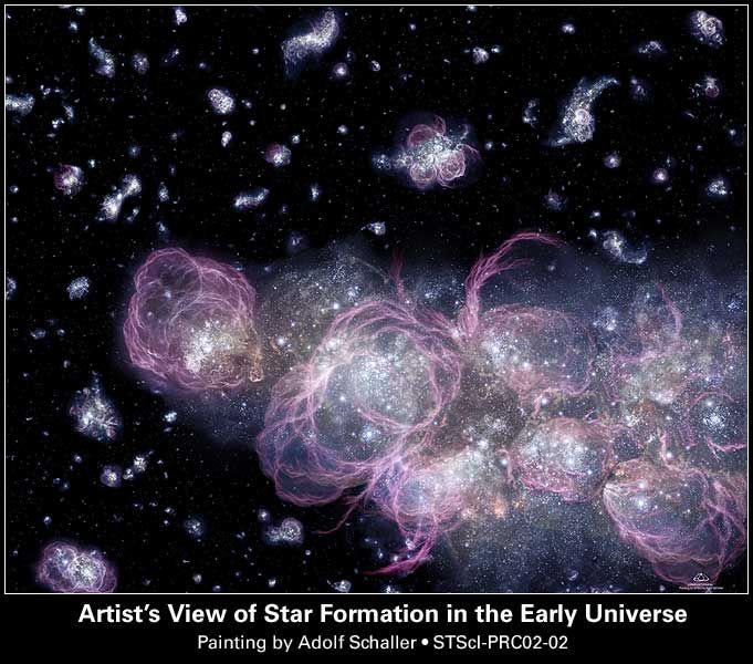 Artist ' s View of Star Formation in the Early Universe Painting by Adolf Schaller