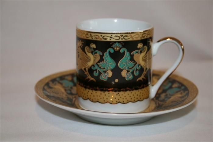 Chinacraft Demitasse Set For 6 Black Gold Turquoise Rooster Design 163 In 2020 Turquoise Rooster Black Gold