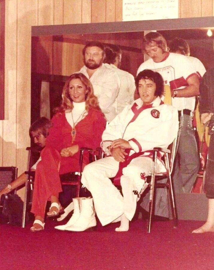 """elvisandmee: """"Linda Thompson and Elvis Presley at a Karate match, c. 1973 """""""