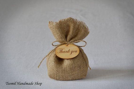 Wedding Favor bolsa de arpillera Favor boda gracias por Teomil