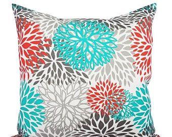 15 % de réduction vente oreillers extérieures intérieures - deux Turquoise et Orange jettent taies d'oreiller - canapé coussin Coussin housse Turquoise Orange gris