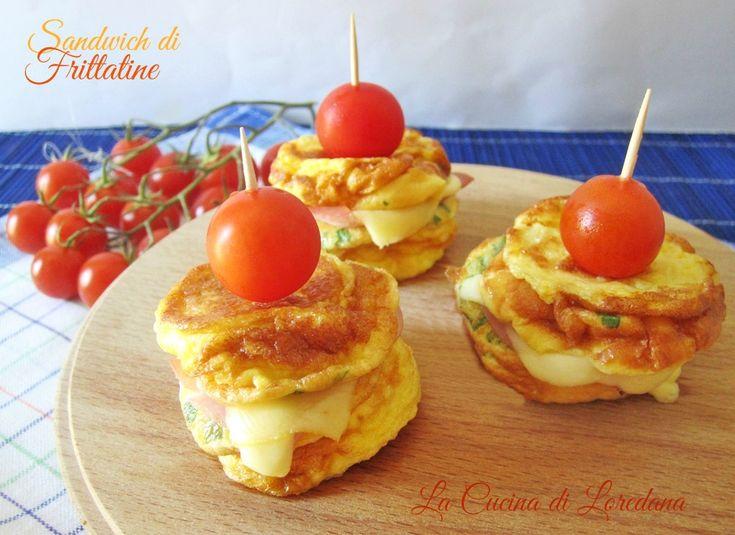 Sandwich di frittatine mozzarella e prosciutto
