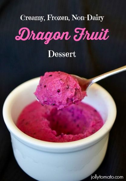 Dragon Fruit Dessert, vegan, dairy-free, gluten-free! from Jeanne at Jolly Tomato