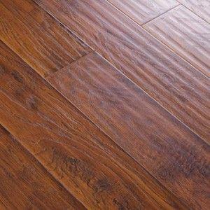 Handscraped click lock hickory mocha laminate for Click lock laminate wood flooring