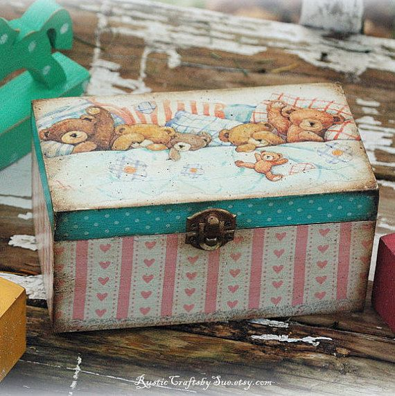 Decoupage Box-Wooden Box- Vintage Box-Vintage Nursery Decor-Vintage Teddy Bears-Baby Shower Money Box