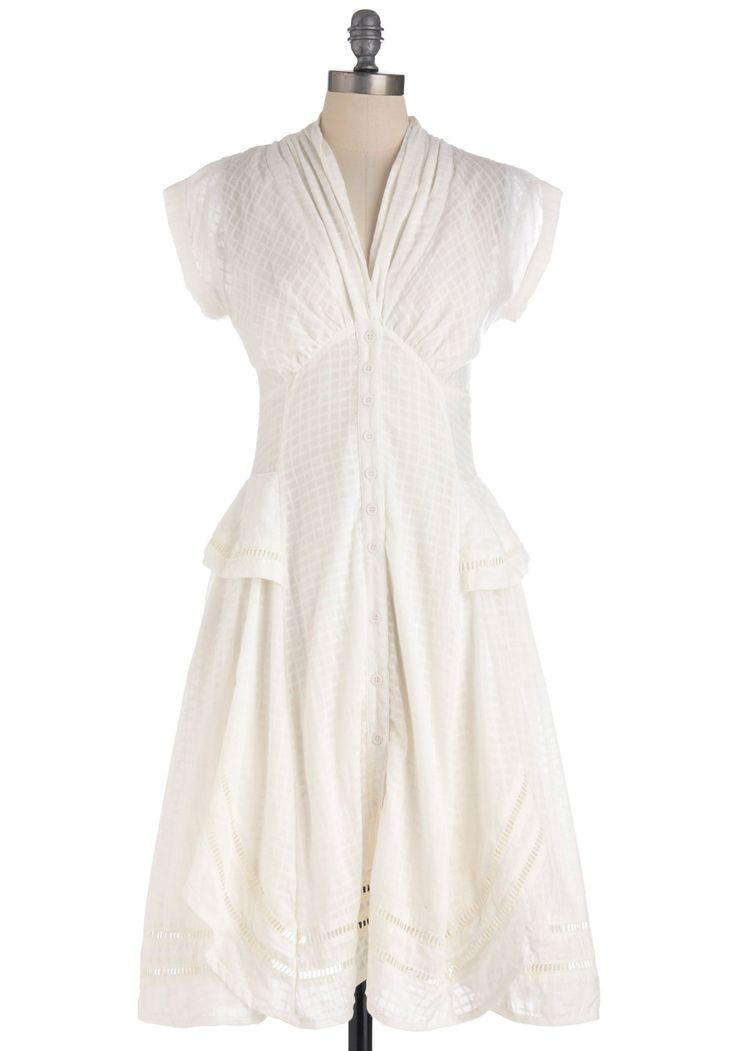 Rhapsody in White Dress - Long, White, Solid, Ruffles, Scallops, Casual, A-line, Cap Sleeves, Spring, Fit & Flare, V Neck, Top Rated