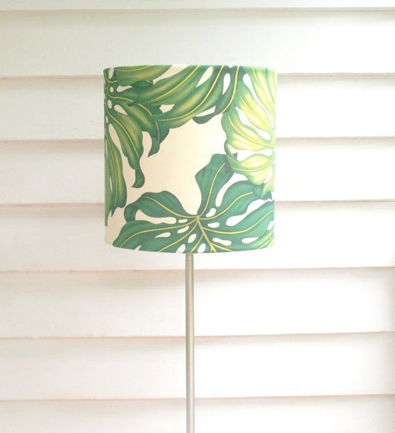 Tropical green fabric lampshade  large ceiling by MadeInFabric, $87.00
