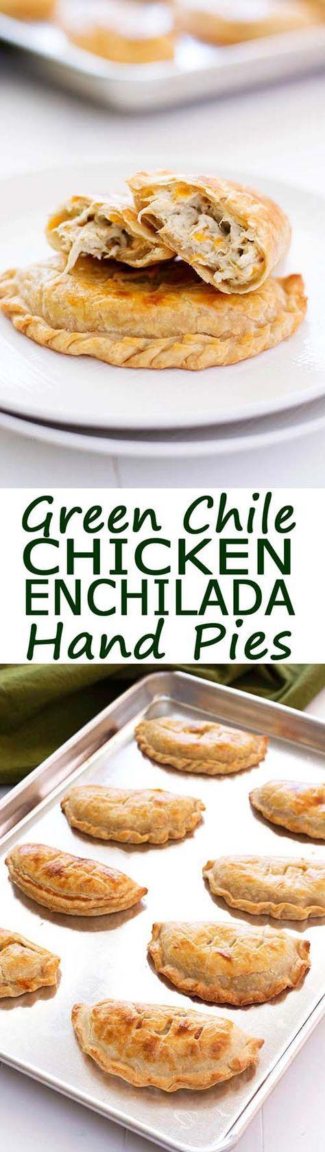 Green Chile Chicken Enchilada Hand Pies! Flavorful filling of cream cheese, chicken and green chiles similar to enchiladas suizas or enchiladas verdes!   Kitchen Gidget